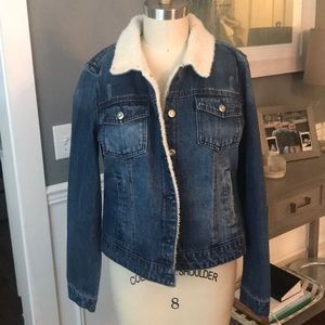 Kensie Fauz Shearling lined denim jacket
